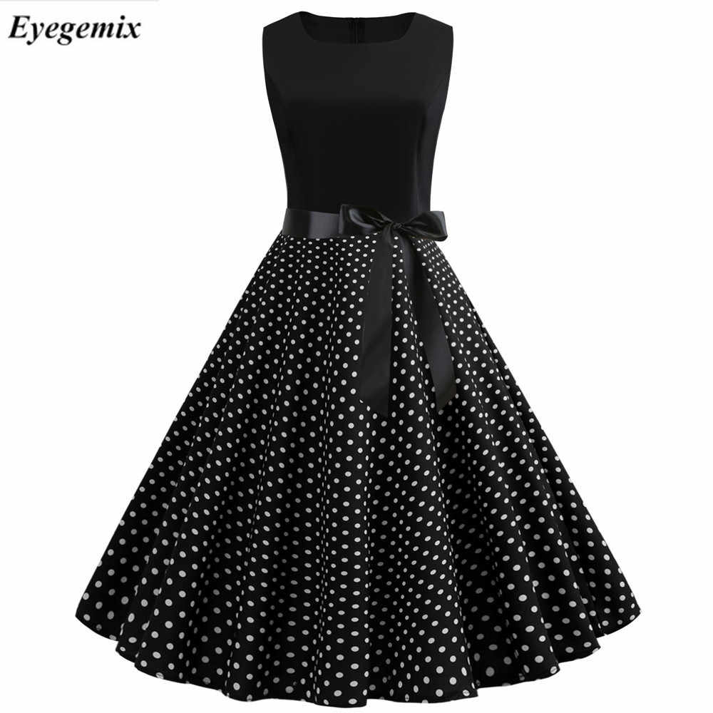 Women Summer Dresses 2019 Robe Vintage 1950s 60s Pin Up Big Swing Party Work Wear Rockabilly Dress Black Polka Dot Vestidos