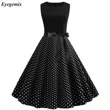 Women Summer Dresses 2019 Robe Vintage 1950s 60s Pin Up Big Swing Party Work Wear Rockabilly Dress Black Polka Dot Vestidos(China)