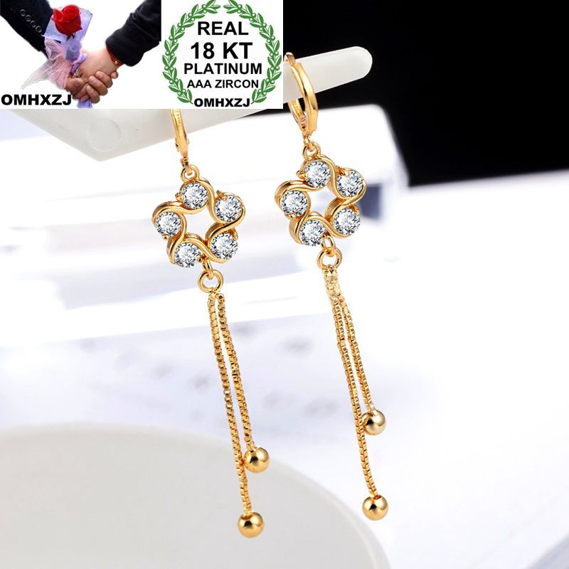 OMHXZJ Wholesale Personality Fashion OL Woman Girl Party Wedding Gold Star Zircon 18KT Earrings YE300