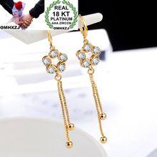 OMHXZJ Wholesale Personality Fashion OL Woman Girl Party Wedding Gold Star Zircon 18KT Earrings YE300