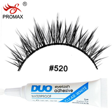PROMAX 520 False Eyelashes 3 Pairs Handmade Fake Eyelashes Soft Natural Crisscross Eye Lashes With 1 PCS DUO Eyelash Glue