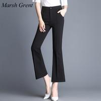 2017 New Fashion Women S Casual Summer Black Pants Trousers New Designer OL Slim Flare Leg