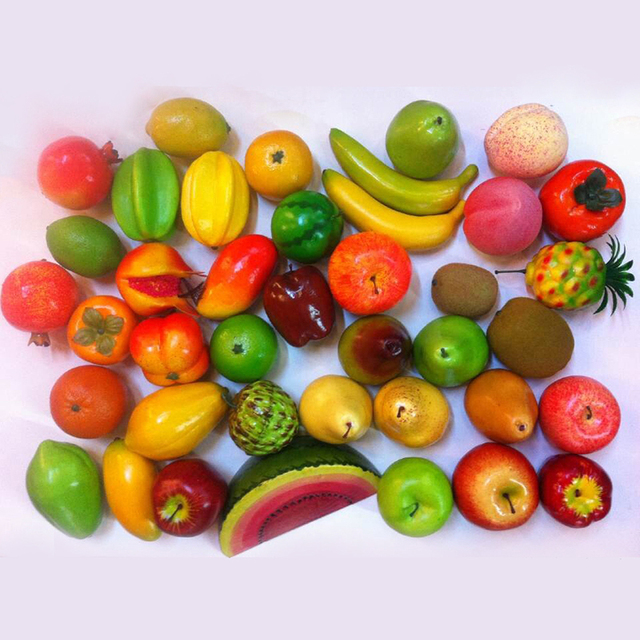 8 Pcs Artificial Fruits Plastic Fake Fruit Kitchen Table DIY Home Room Decor New