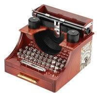 Creative typewriter music box Winding retro music music box with drawers Dynamic typewriter music box