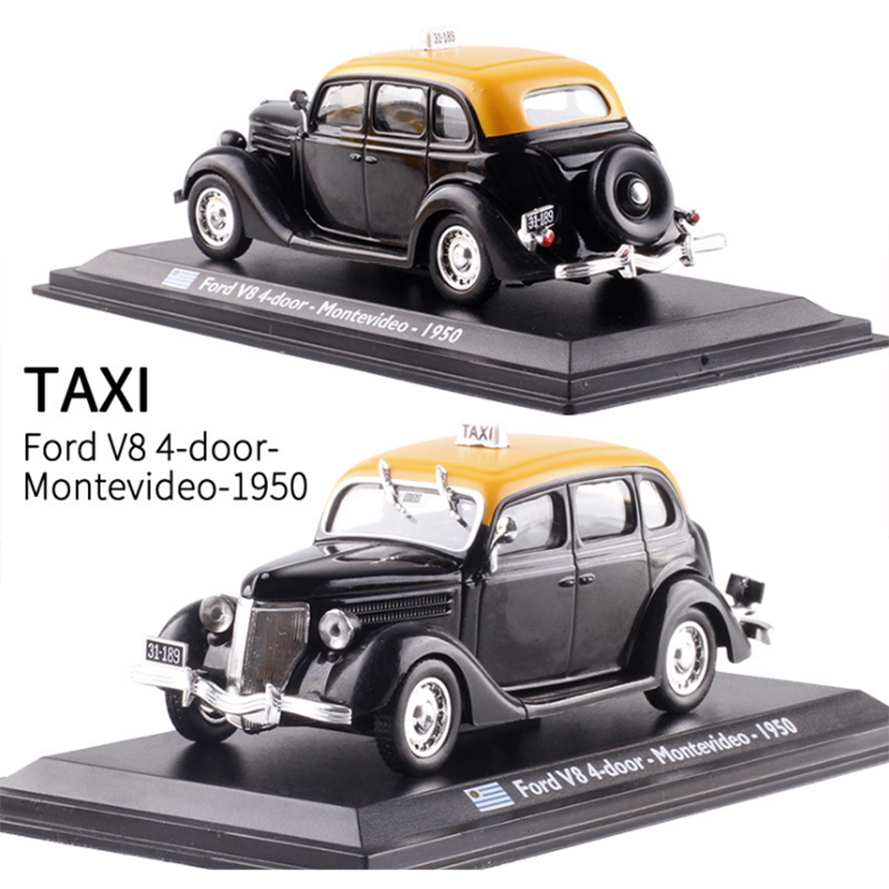 <font><b>1:43</b></font> Scale <font><b>Ford</b></font> V8 4-door Montevideo 1950 TAXI Diecast Metal Car <font><b>Model</b></font> Toy For Kids Gifts Collection Original Box Static image