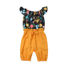 2-7T Toddler Baby Girl Romper Clothes Floral Patchwork Off-Shoulder Ruffle Short Sleeve Bow Jumpsuit Casual Summer Clothing