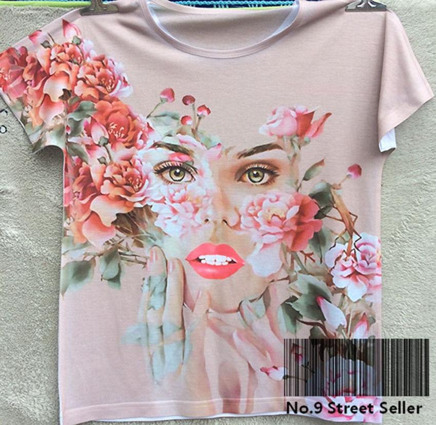 Dedicado Track Ship + New Summer Camiseta Fresca Tee T Top Camiseta Abstracta Flor Mujer Cara Labio Rojo Ilusión Mágica 0174 Descuento En Linea