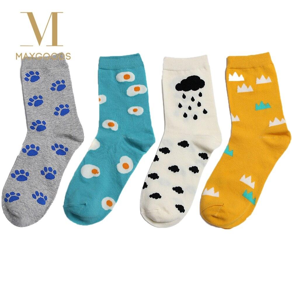 1 Paar Frauen Baumwolle Socken Ei Welligkeit Wolken Muster Casual Atmungsaktive Socken Lady Multicolor Cartoon Muster Weichen Socken