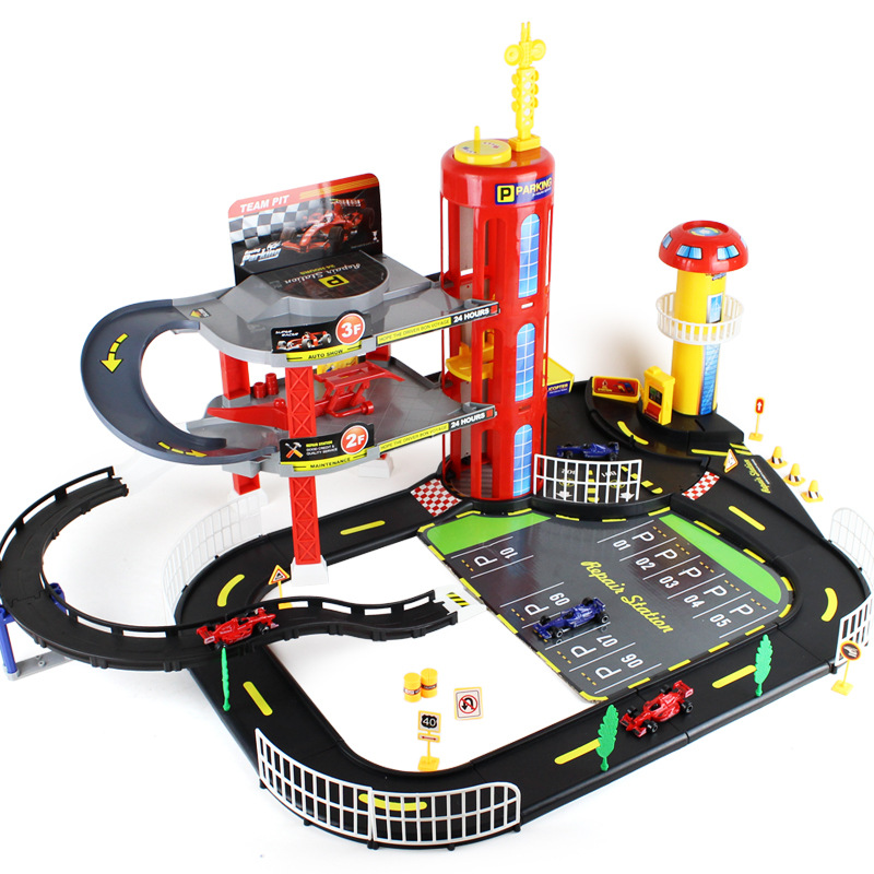 3 layers assembling building blocks formula 1 racing games cars miniature parking toy track kid toy