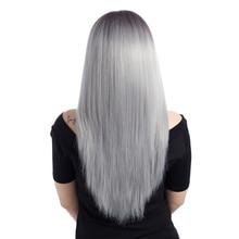 ЕЛЕГАНТ МУСЕС 26инцх Омбре сива перика за црне жене дуга равна синтетичка козлава перика топлотно отпорна влакна средњи део