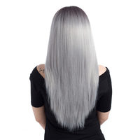 ELEGANT MUSES 26inch Ombre Grey   Wig   For Black Women Long Straight Synthetic   Cosplay     Wig   Heat Resistant Fiber Middle Part