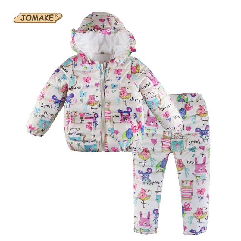 Next Brand 2017 Winter Girls Clothing Sets Cartoon Animal Graffiti Baby Girl Clothes Set Casual Thick
