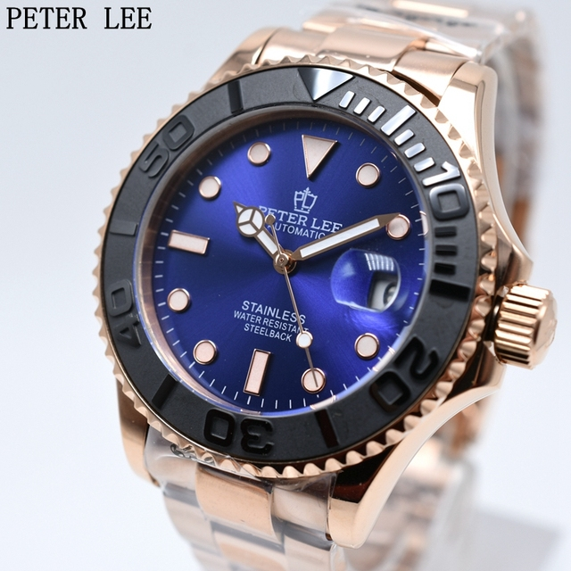 PETER LEE Dial 42 mm Ceramic Rotatig Bezel Clock Waterproof Full Steel Automatic Mechanical Men Watch Top Brand Luxury Rose Gold