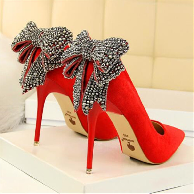 Women's Elegant Crystal Butterfly-knot Shallow Wedding Shoes Korean Fashion Women Pumps Solid Flock Pointed Toe High Heels Shoes