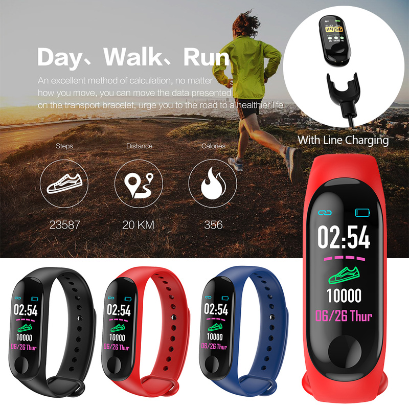 Fitness Blood Pressure Step Counter Outdoor IPS Screen Heart Rate Monitor Waterproof M3 Plus Pedometer PK Mi Band3