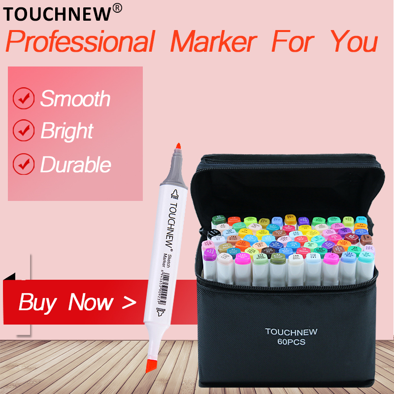 TOUCHNEW 30/40/60/80/108/168 Colors Art Markers Pen Alcohol Based Markers Dual Head Manga Drawing Pens Art SuppliesTOUCHNEW 30/40/60/80/108/168 Colors Art Markers Pen Alcohol Based Markers Dual Head Manga Drawing Pens Art Supplies