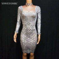 Grey Fashion Pearls Rhinestones Dress Evening Party Wear Long Sleeves Prom Nude Gray Dress Singer Birthday Celebrate Dresses
