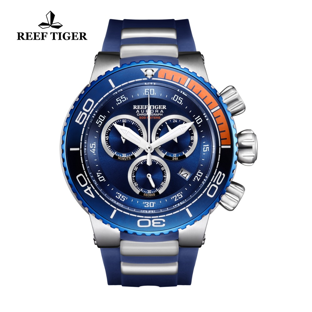 Reef Tiger/RT Men Luxury Brand Sport Watches Reloj Hombre Waterproof Analog Rubber Strap Rose Gold Big Watches Relogio Masculino