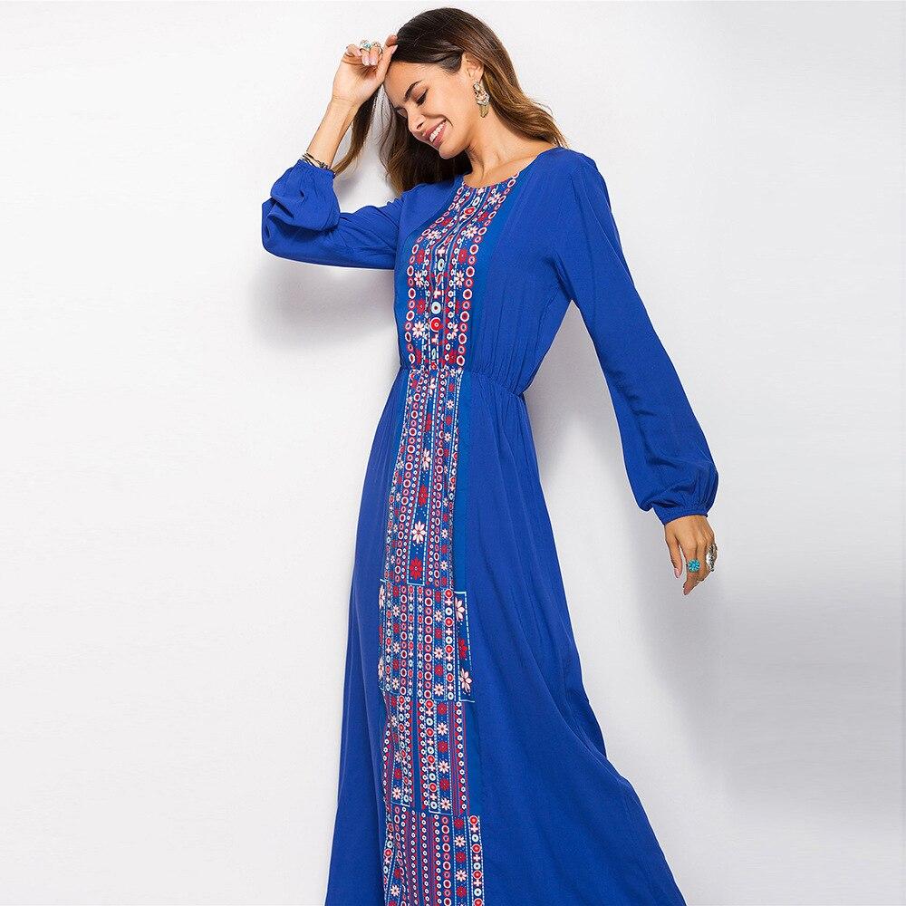 Bohemian Printed Elastic waist long Sleeve Dress women 2019 Jurken Embroidery flower Robe Femme Ete in Dresses from Women 39 s Clothing