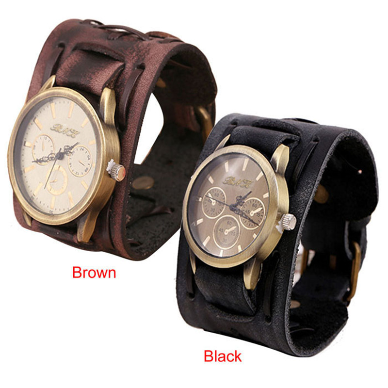 Hearty Antique Copper Relogio Masculino Retro Punk Rock Brown Big Wide Leather Bracelet Cuff Men Watch Cool Mens Watch Erkek Kol Saati Watches