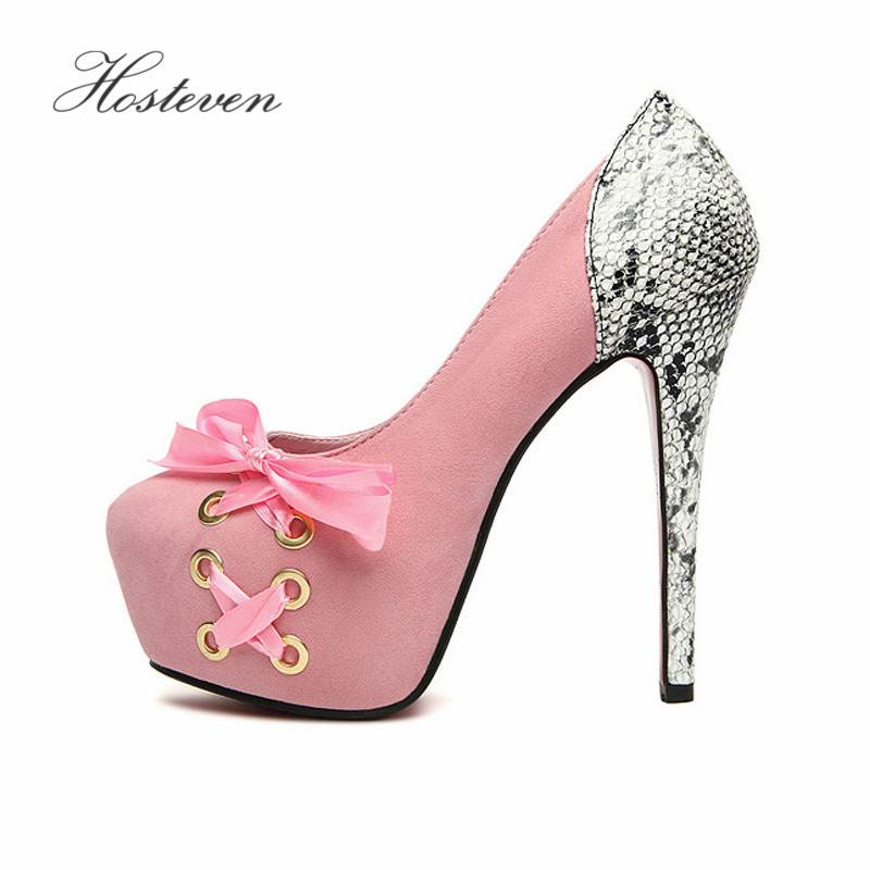 Hosteven Women's Pumps Shoes Fashion Female Woman Ladies Students Sexy Round Toe Butterfly High Heels 13.5cm Shoes Size 34-39 hosteven high heels women s shoes woman ladies pumps thin heels footwear woman sexy leopard sandals shoes plus size 34 44