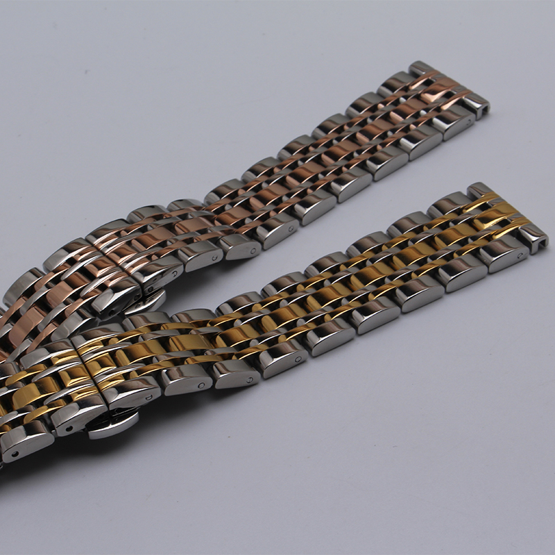 14 16 18 20 22mm New High Quality Silver With Gold Polished Stainless Steel Watch BAND Strap Double Push Depolyment Steel Clasp