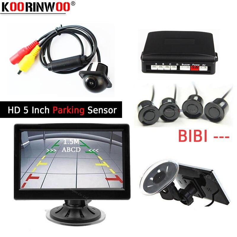 Koorinwoo park takımı HD 5 inç araba yedekleme monitör ekran görüntüsü CCD araba dikiz kamera araba park sensörü 4 radar parktronik