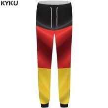 цена на KYKU Brand Germany Pants Men Colorful Flag Trousers Sweat 3d Print Britches Gothic Bodybuilding Mens Sweatpants 2018 New Bottoms