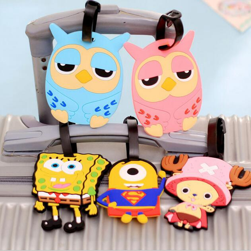 Travel Large Luggage Tag Cute Cartoon Silica Gel Superman SpongeBob  Suitcase Baggage Boarding Tags Portable Travel Label new cute 3d cartoon plastic luggage tag travel luggage suitcase baggage travel bag boarding tag lovely address label name id tag