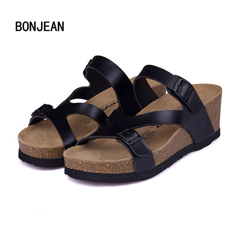 Fashion Women Sandals Wedges Cork High Heels Shoes Gladiator Beach Shoes Summer Slippers Zapatos Mujer Sandalias Plus Size35-40 new 2016 women rhinestone gladiator sandals summer flat casual shoes beach slippers size 35 39