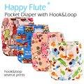 Feliz Flauta Hook & Loop OS Bolsillo Pañal de Tela, impermeable y transpirable S M y L ajustable, ajuste 5-15 kg bebé