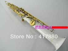 Professionelle Gerade Bb Sopransaxophon Tropfen B Saxphone Sopran Weiß Körper Gold Schlüssel Oberfläche Musikinstrument Saxophon
