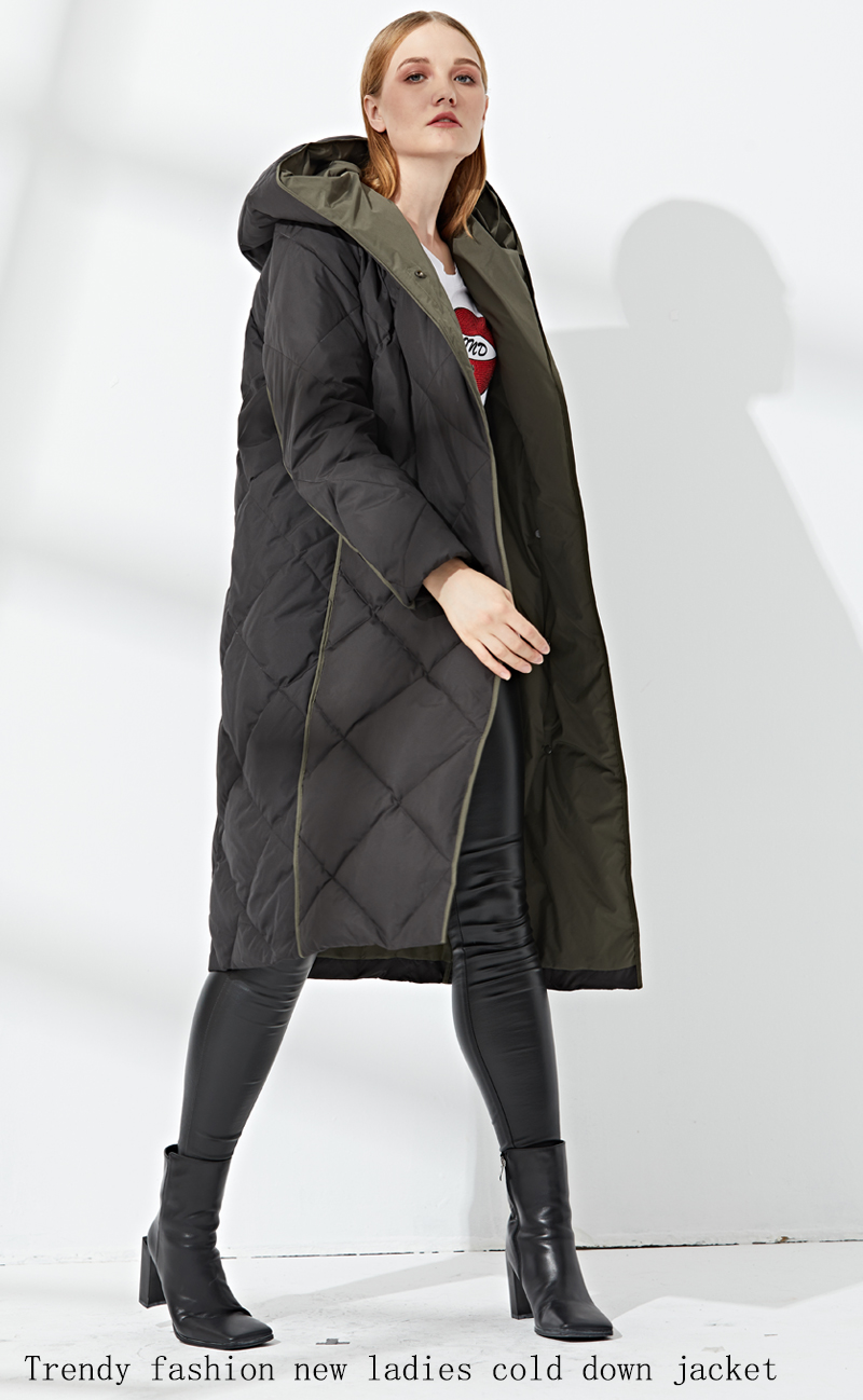Fashion New Pattern Long Type Coat Keep Warm Solid Color Women Hooded Down Coat Jacket