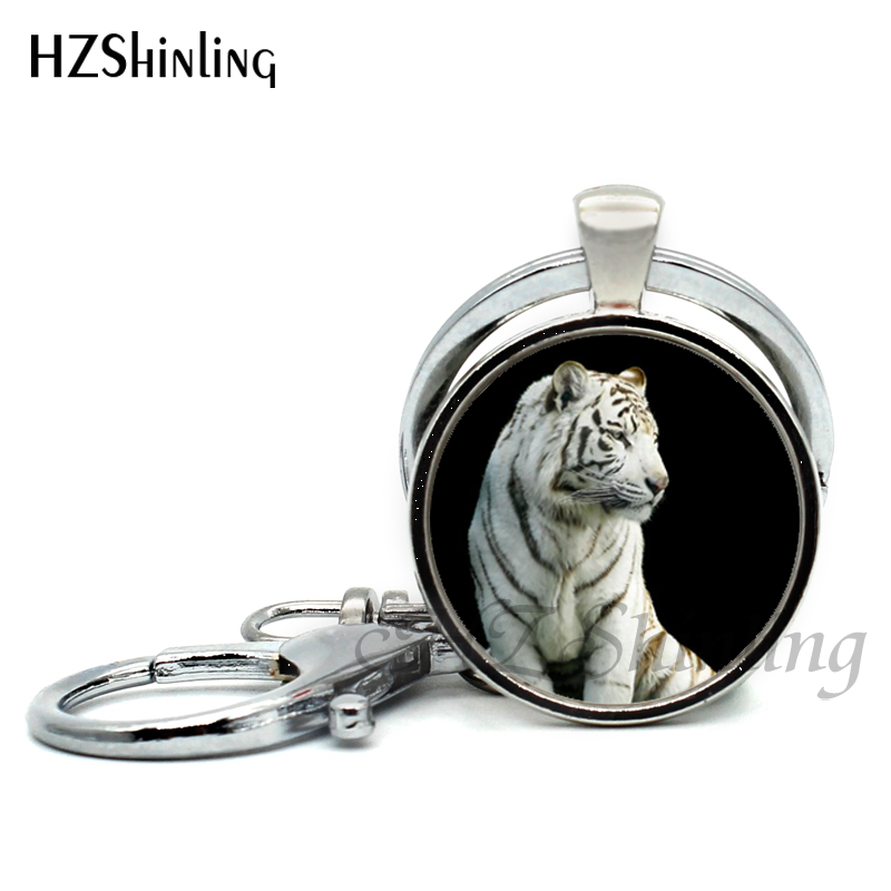 2017 new arrival black white tiger pendant keychains wild animal