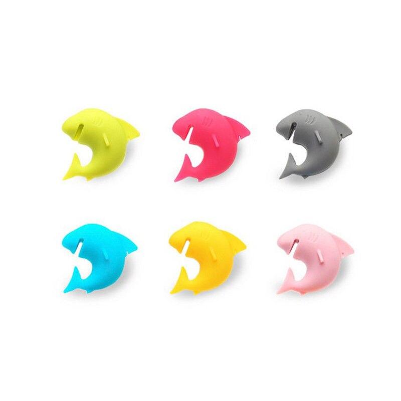 Popular 6pcs Silicone Mini <font><b>Shark</b></font> Shape Tea Bag Holders <font><b>Cup</b></font> Mug Identify Markers