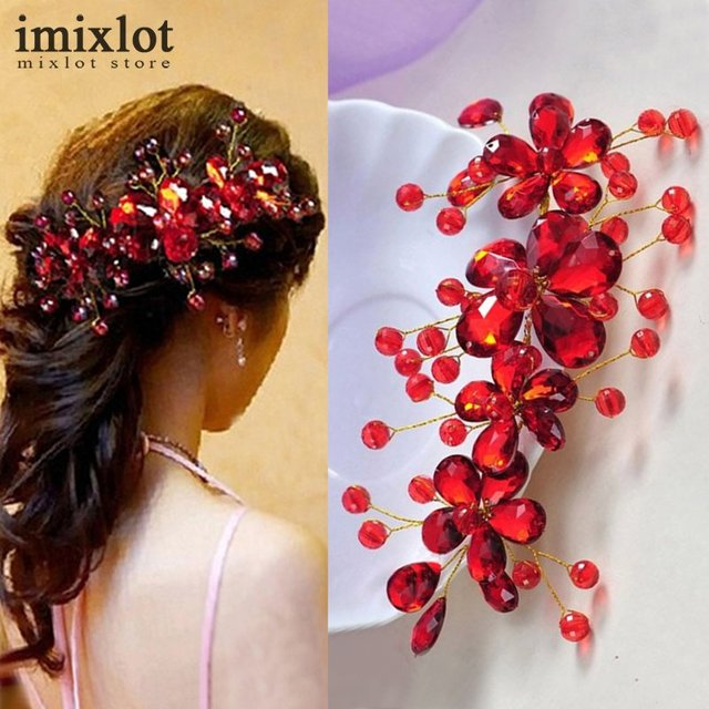 Hot Sale Red Flower Crystal Bridal Hair Accessories Bridal Hair Clip Hairpin Tia