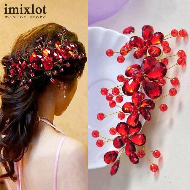 Vendita calda Rosso Fiore di Cristallo Nuziale Accessori Per Capelli Da  Sposa Clip di Capelli Hairpin