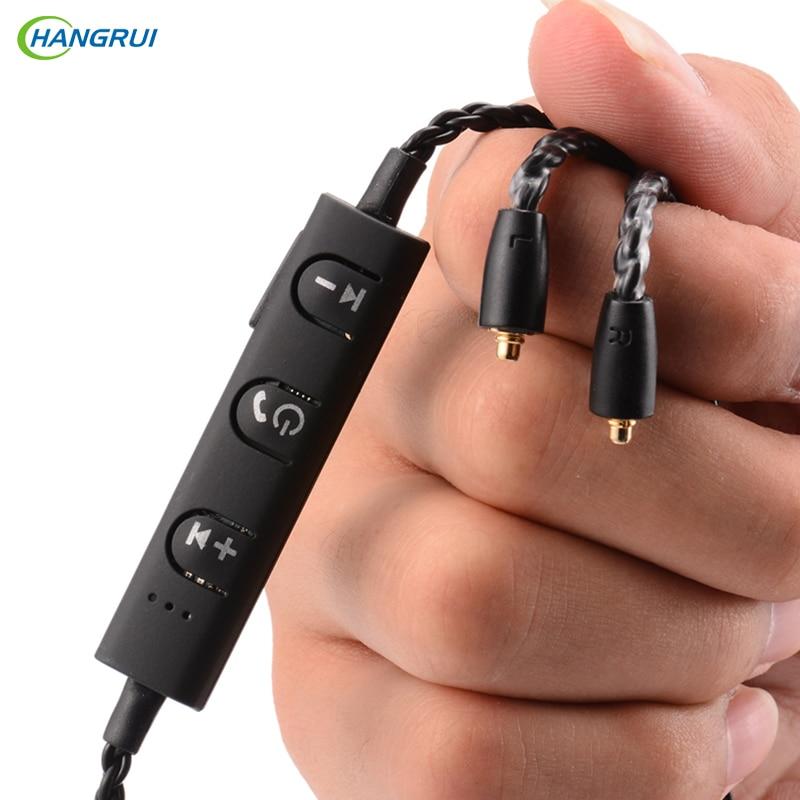 HANGRUI MMCX Bluetooth drahtlose kopfhörer Detchable Kopfhörer Kabel mit mikrofon Headset kabel Adapter SE535 SE215 846 UE900