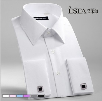 Pure color fashion long-sleeved French cuff-links shirts 1