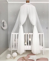 JY79 Canopy Bed Mosquito Net Decoration Home Bed Curtain Round Crib Netting Baby Tent Light Chiffon