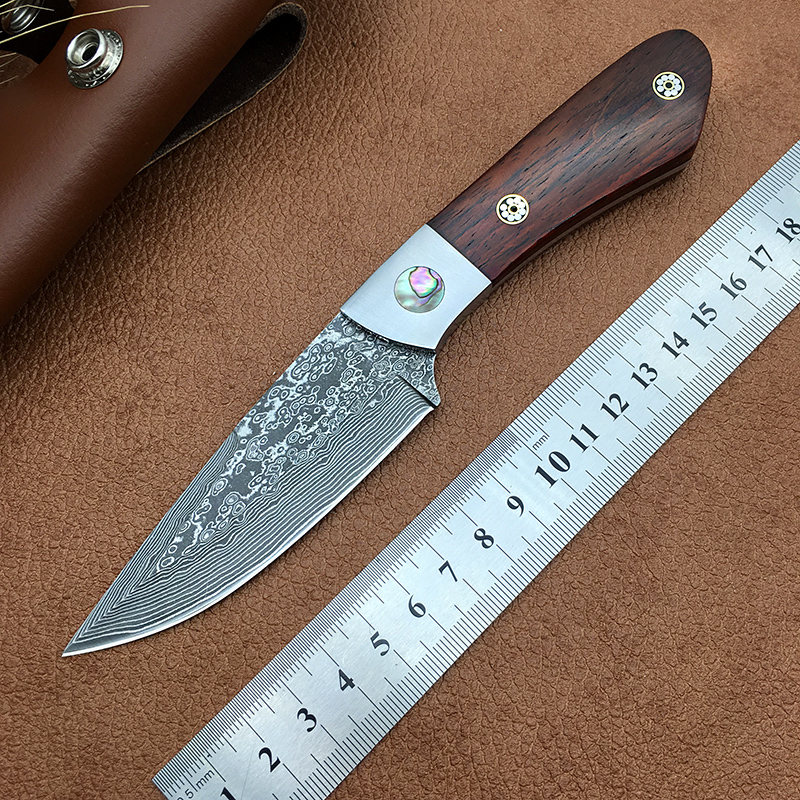 Damascus steel hunting knife fixed blade knives Utility survival tool wood handle Leather sheath craftsman collection
