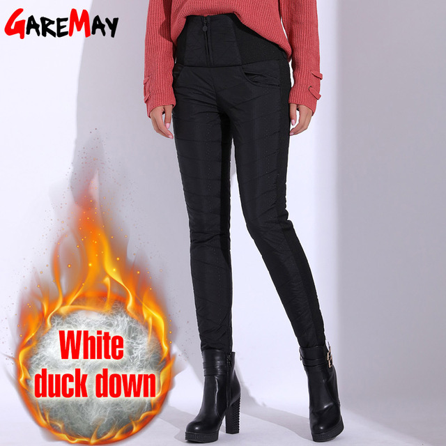 Winter Pants Women Duck Down Velvet High Waist Skinny Warm Formal Pants Female Black Elastic Waist Work Trousers Women GAREMAY