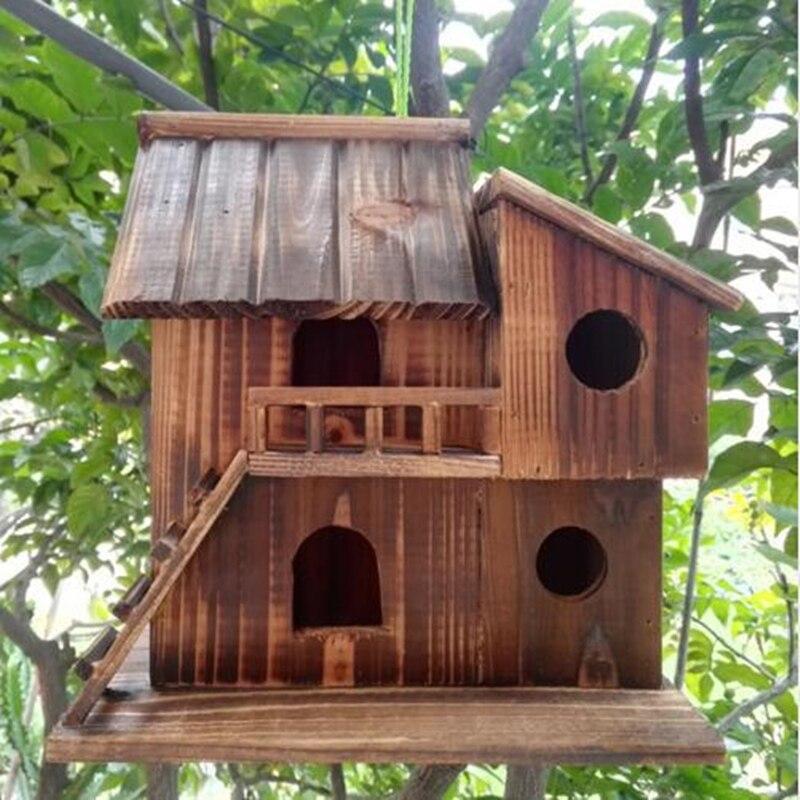 25*25*16 Cm Wood Preservative Outdoor Birds Nest Wood Preservative Bird Nest Decoration Bird House Wooden Bird Cage Toy