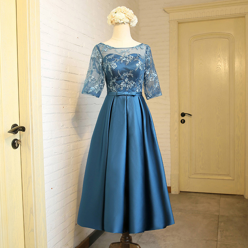 Wedding Banquet Dresses New Spring 2019 Style Half Sleeve Illusion O neck Lace Mother of the Bride Dresses Tea Length