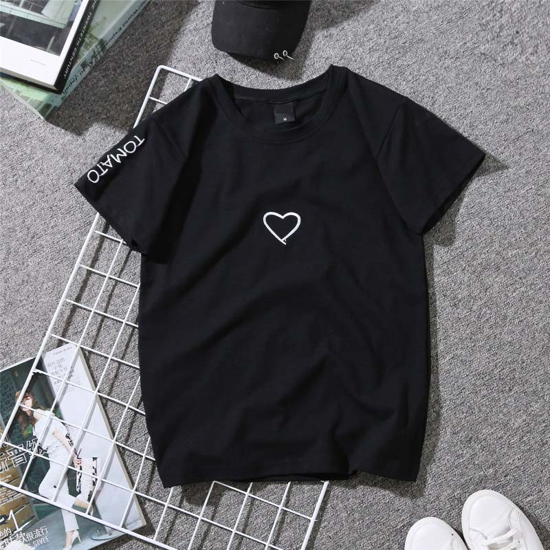 Couples Lovers T-Shirt for Women Love Heart Embroidery Print T-Shirt Female 21