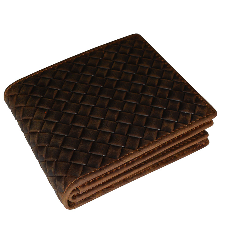 Weaving Men's wallet Head layer cowhide Card holder Purse and handbags casual weaving design card holder handbag hasp wallet for women