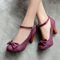 Womens Low Chunky Heel Shallow Retro Mary Janes Bowknot Deco Pumps Shoes Plus Size 34 48 High Heels