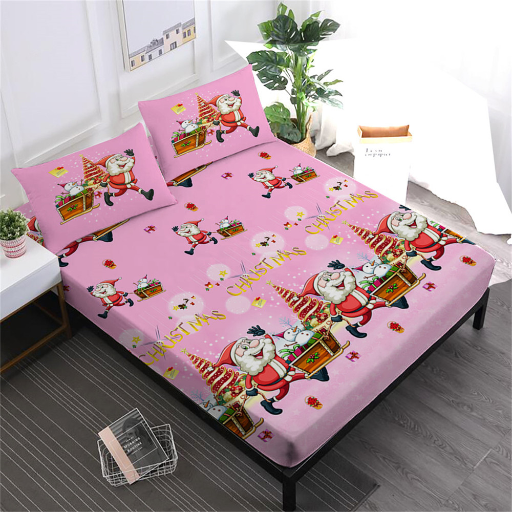 Festival Gift Sheets Set Pink Christmas Fitted Sheet Cartoon Santa Claus Print Bed Linens Pillowcase 4pcs Bedding Set D35Festival Gift Sheets Set Pink Christmas Fitted Sheet Cartoon Santa Claus Print Bed Linens Pillowcase 4pcs Bedding Set D35