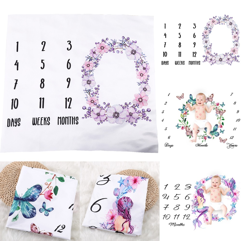 Baby Newborn Letter Milestone Blankets For Photography Rug Photos Props Mats