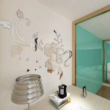 Home Decoration Wall Decals DIY Self Adhesive Flower Pattern 3D Acrylic Wall Stickers Bedroom Living Room(China)